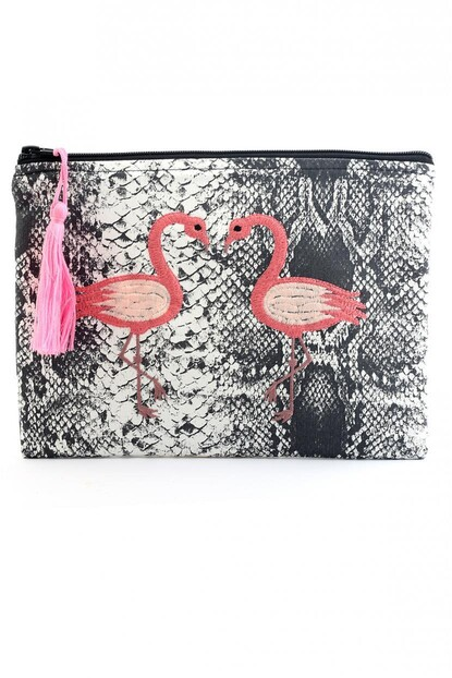 FLAMİNGO NAKIŞLI CLUTCH