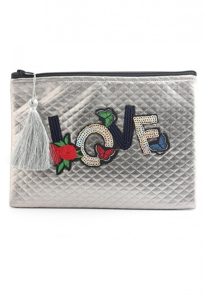 LOVE APLİKELİ CLUTCH